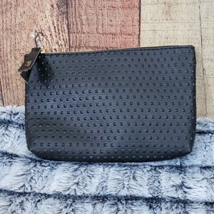 Ipsy black embossed cosmetics pouch